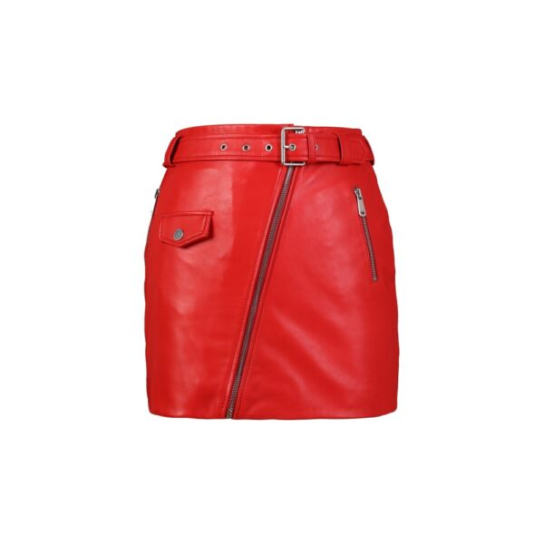 Little red skirt in leather
