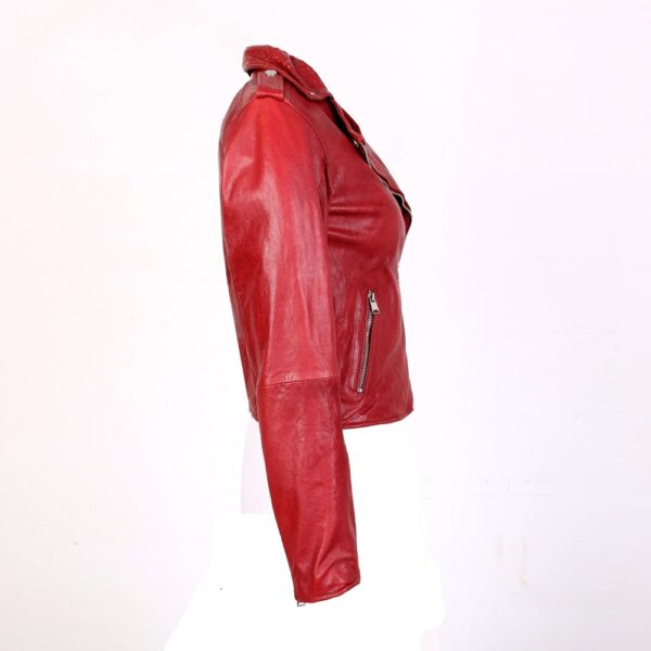 Chic fiery red leather jacket side view