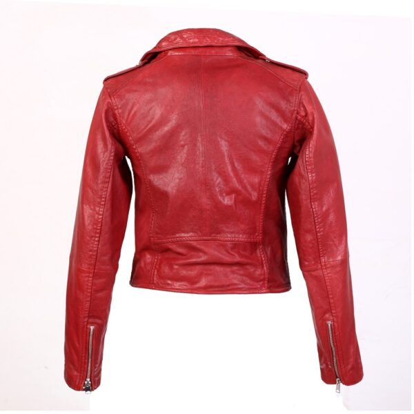 Chic fiery red leather jacket back view