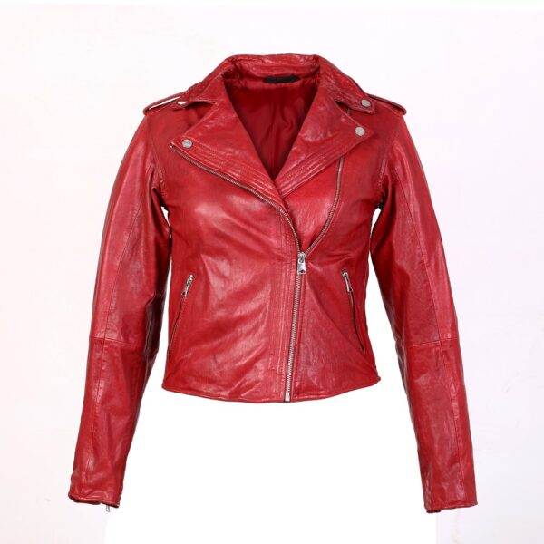 Chic fiery red leather jacket