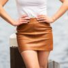 Leather mini skirt in brown