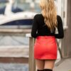 Little red leather skirt