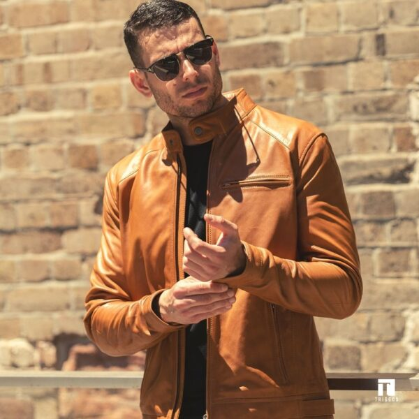 Tan biker jacket by Triggos in leather
